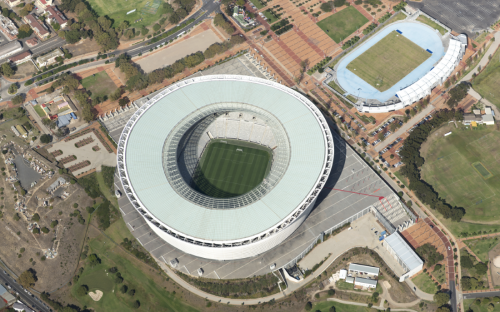 oblique aerial image of cape town stadium south sfrica